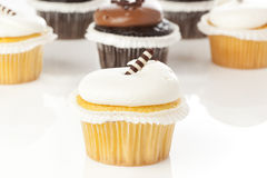 Chocolate and Vanilla Frosted Cupcake Royalty Free Stock Photo