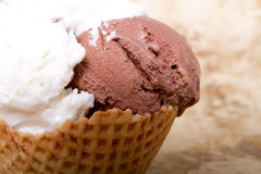 Chocolate and vanilla ice cream Stock Images