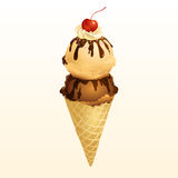Chocolate and Vanilla Ice cream cone. EPS10, This illustration contains transparency Stock Photo