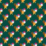 Chocolate vanilla ice cream cone seamless pattern vector. Stock Photography