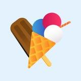 Chocolate vanilla ice cream cone soft delicious vector. Stock Images