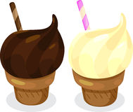 Chocolate and Vanilla Ice Cream Cones. Cartoon illustration of soft serve swirled chocolate and vanilla ice cream cones with candy sticks Royalty Free Stock Photos