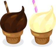Chocolate and Vanilla Ice Cream Cones Royalty Free Stock Photos