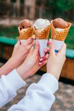 Ice cream in hands royalty free stock photography