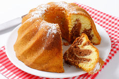 Chocolate and vanilla Kugelhopf cake Stock Images