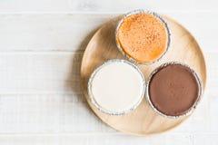 Chocolate, vanilla milk and milk tea soft cake Stock Photo