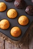 Chocolate and vanilla muffins in baking dish top view vertical Royalty Free Stock Photo