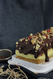 Chocolate and vanilla pudding cake. With oat bran sponge Royalty Free Stock Images