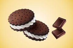 Chocolate vanilla sandwich cookie. With ingredients in 3d illustration vector illustration
