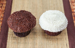 Chocolate and vanilla sprinkles cupcakes Royalty Free Stock Image