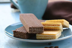 Chocolate and vanilla wafers Stock Image