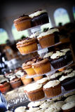 Chocolate and vanilla wedding cupcakes royalty free stock photography