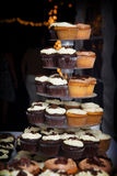 Chocolate and vanilla wedding cupcakes stock image