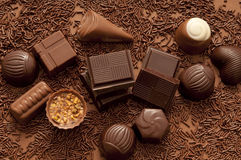 Chocolate. Variety of chocolate truffles and pralines Royalty Free Stock Images
