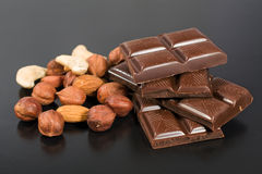 Chocolate with various nuts Royalty Free Stock Photography