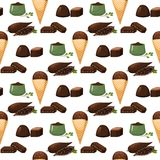 Chocolate various tasty sweets and candies sweet brown delicious gourmet sugar cocoa snack vector illustration. Chocolate various tasty sweets and candies. Sweet Royalty Free Stock Photos