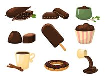 Chocolate various tasty sweets and candies sweet brown delicious gourmet sugar cocoa snack vector illustration. Chocolate various tasty sweets and candies. Sweet Royalty Free Stock Image