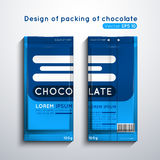 Chocolate 1. Vector illustration of packaging of chocolate. Template of design of blue color Stock Images
