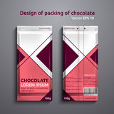 Chocolate 3. Vector illustration of packaging of chocolate. Template of design of red color Stock Photos