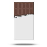 Chocolate vector. Plate in torn cover on white background Royalty Free Stock Images