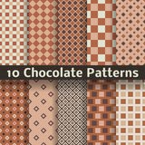Chocolate vector seamless patterns (tiling). 10 Chocolate vector seamless patterns (tiling). Monochrome brown color. Endless texture can be used for printing Royalty Free Stock Photos
