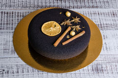 Chocolate velour Christmas mousse cake with some decoration Royalty Free Stock Photo