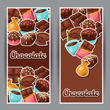 Chocolate vertical banners with various tasty Stock Image