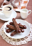 Chocolate Viennese fingers biscuits Stock Photos
