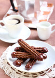Chocolate Viennese fingers biscuits Royalty Free Stock Images