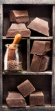 Chocolate in vintage box Royalty Free Stock Photo