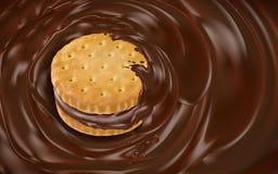 Chocolate vortex and cookie. Element, dark brown background, 3d illustration Stock Photo