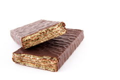 Chocolate wafer. Isolated on the white background Royalty Free Stock Photography