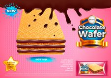 Chocolate wafer ads vector background. Chocolate wafer ads. 3d illustration and packaging Royalty Free Stock Image