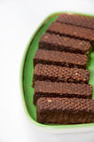 Chocolate wafer arranged on a plate Stock Images