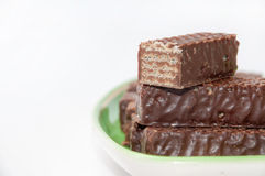 Chocolate wafer arranged on a plate stock image