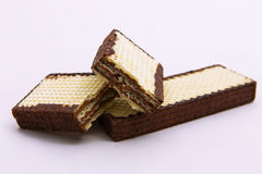 Chocolate wafer biscuits on a white background Stock Photography