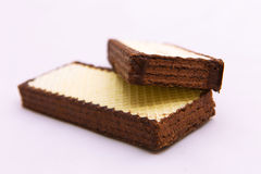 Chocolate wafer biscuits on a white background Stock Image