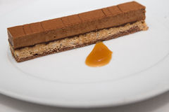 Chocolate Wafer Desert with Butterscotch Sauce Royalty Free Stock Photos