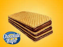 Chocolate wafer design element. Crunchy cookie with chocolate syrup fillings isolated on yellow background in 3d illustration Stock Photo