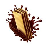 Chocolate wafer with melted chocolate splash. Waffle cookies with chocolate filling and splash of melted chocolate realistic vector illustration isolated on Stock Photo