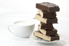Chocolate wafer and milk Stock Images