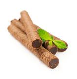 Chocolate wafer rolls with mint Royalty Free Stock Image
