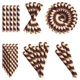 Chocolate wafer straws in cartoon style set isolated on white background. Chocolate wafer in cartoon style set isolated on white background.  Chocolate wafer Stock Photo