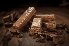 Chocolate wafers. On a dark wooden table Stock Photography