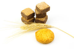 Chocolate wafers and bale Royalty Free Stock Photography
