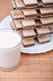 Chocolate wafers, glass milk Stock Photography