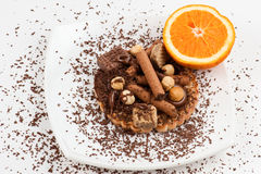 Chocolate and wafers with orange  Royalty Free Stock Image