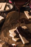 Chocolate waffers on the wooden background Royalty Free Stock Photos