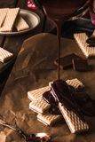 Chocolate waffers on the wooden background Royalty Free Stock Image