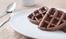 Chocolate Waffle Breakfast on a white plate. Close-up chocolate Waffle Breakfast on a white plate Stock Photos
